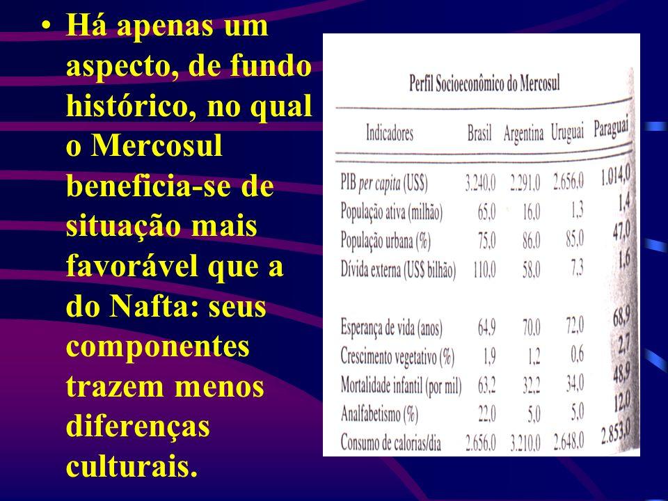 Há apenas um aspecto, de fundo histórico, no qual o Mercosul beneficia-se de situação mais favorável que a do Nafta: seus componentes trazem menos dif