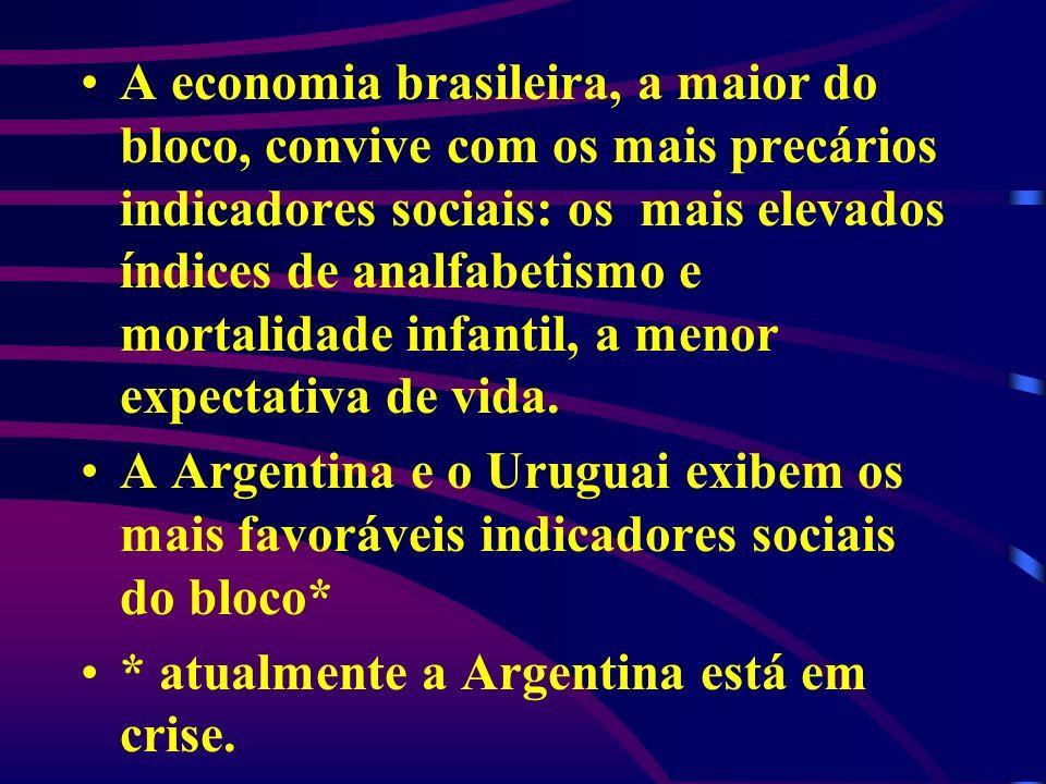 A economia brasileira, a maior do bloco, convive com os mais precários indicadores sociais: os mais elevados índices de analfabetismo e mortalidade in