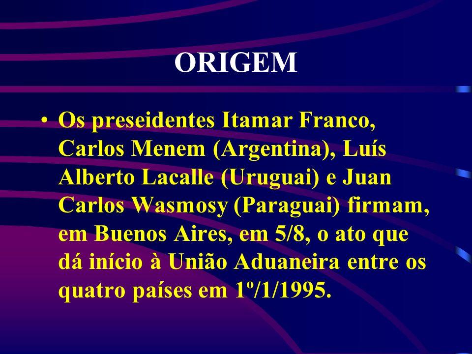 ORIGEM Os preseidentes Itamar Franco, Carlos Menem (Argentina), Luís Alberto Lacalle (Uruguai) e Juan Carlos Wasmosy (Paraguai) firmam, em Buenos Aire