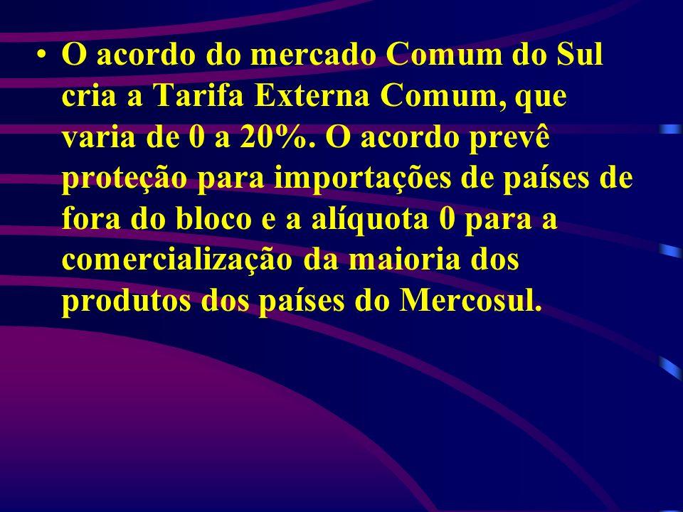 O acordo do mercado Comum do Sul cria a Tarifa Externa Comum, que varia de 0 a 20%. O acordo prevê proteção para importações de países de fora do bloc