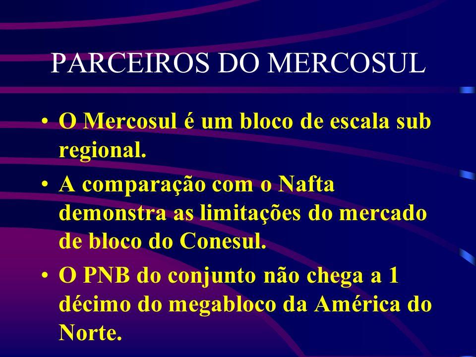 PARCEIROS DO MERCOSUL O Mercosul é um bloco de escala sub regional. A comparação com o Nafta demonstra as limitações do mercado de bloco do Conesul. O
