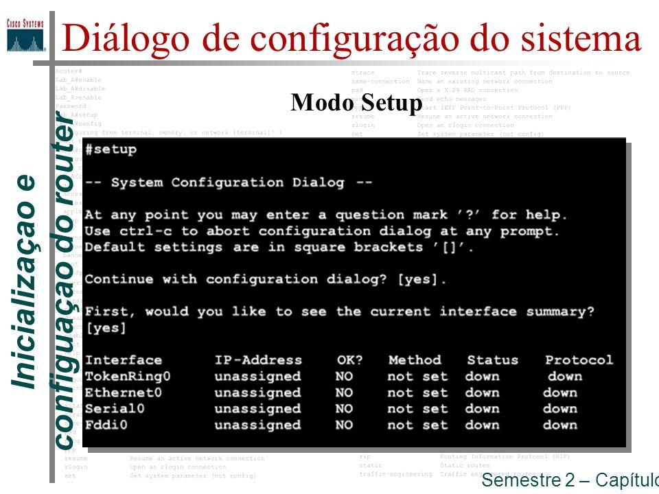 Inicializaçao e configuaçao do router Semestre 2 – Capítulo 5 Diálogo de configuração do sistema Modo Setup