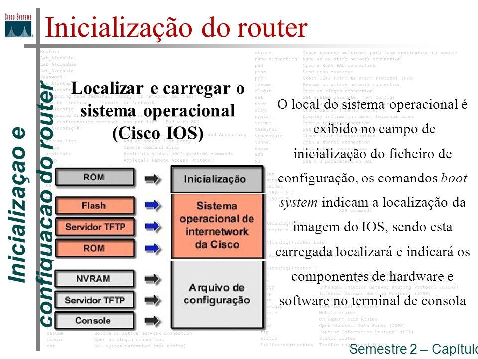 Inicializaçao e configuaçao do router Semestre 2 – Capítulo 5 Inicialização do router Localizar e carregar o ficheiro de configuração ou Entrar no modo setup O ficheiro de configuração salvo na NVRAM é carregado na memória principal e executado linha a linha(processos de roteamento, endereçamento de interfaces,...).