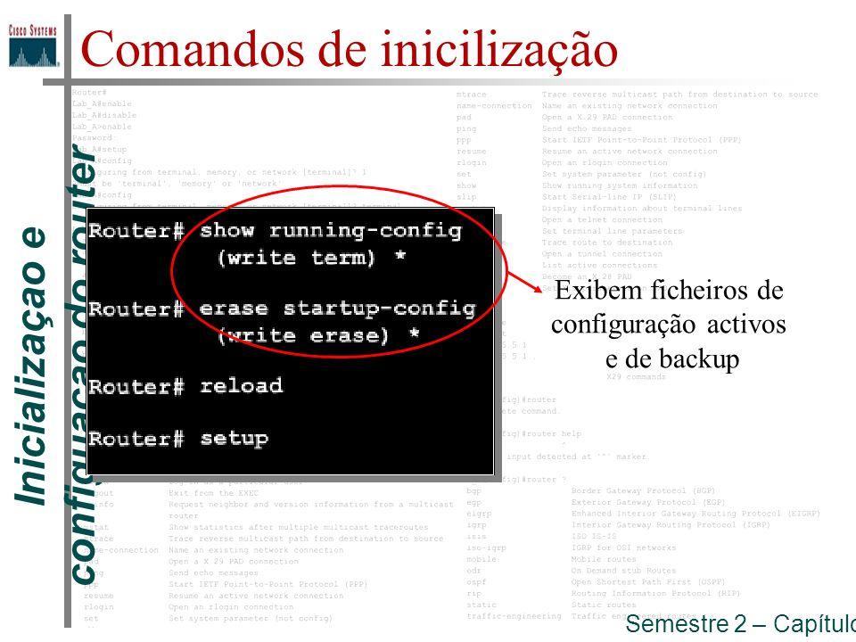 Inicializaçao e configuaçao do router Semestre 2 – Capítulo 5 Comandos de inicilização (reboot) recarrega o router, reenicia o sistema executando do inicio o processo de inicialização.