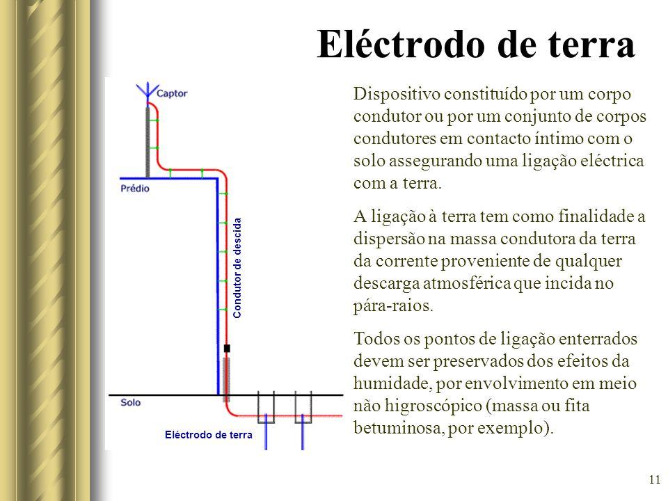 11 Eléctrodo de terra Condutor de descida Dispositivo constituído por um corpo condutor ou por um conjunto de corpos condutores em contacto íntimo com