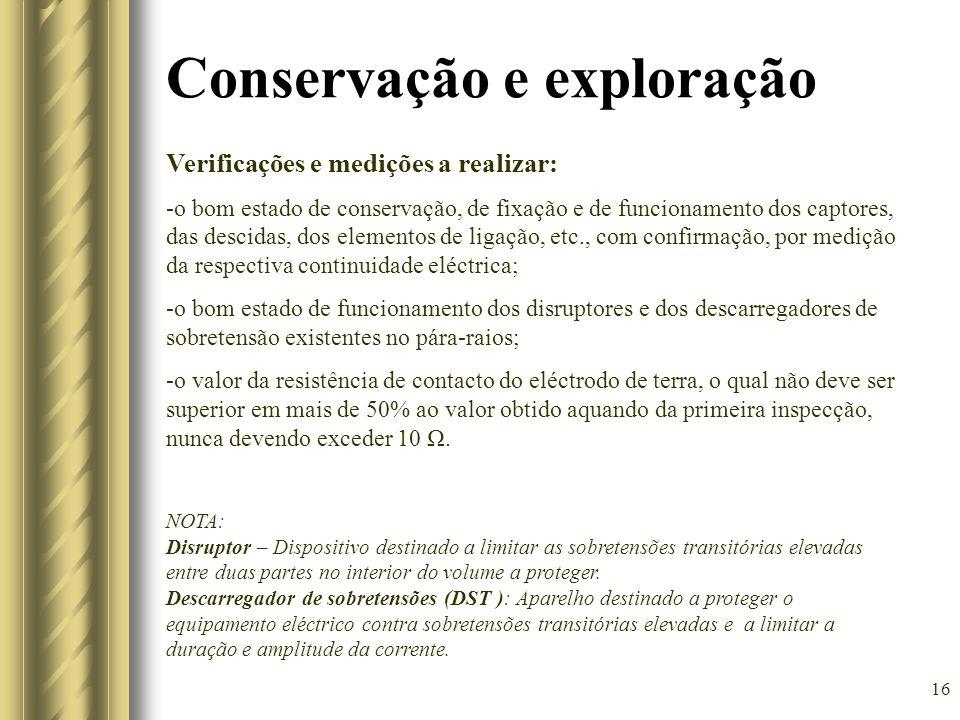 16 Conservação e exploração Verificações e medições a realizar: -o bom estado de conservação, de fixação e de funcionamento dos captores, das descidas