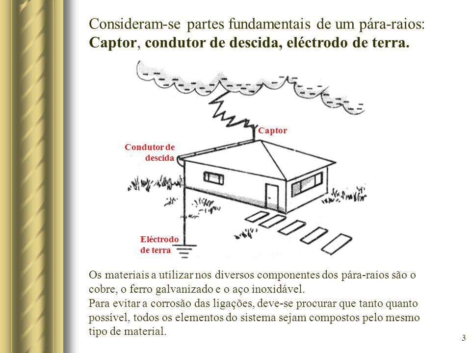 3 Captor Condutor de descida Eléctrodo de terra Consideram-se partes fundamentais de um pára-raios: Captor, condutor de descida, eléctrodo de terra. O