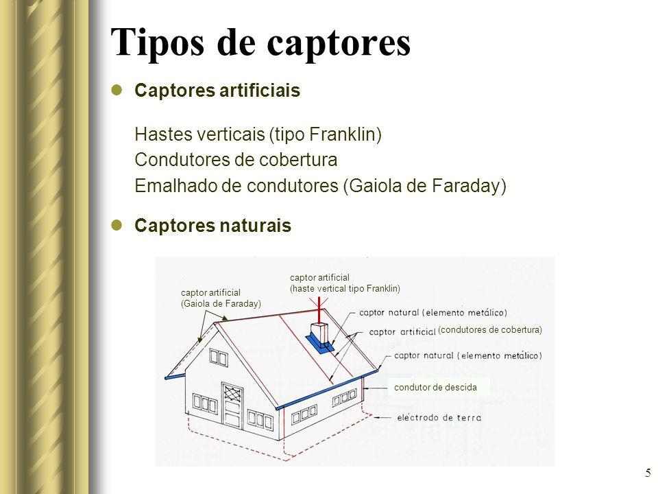 5 Tipos de captores Captores artificiais Hastes verticais (tipo Franklin) Condutores de cobertura Emalhado de condutores (Gaiola de Faraday) Captores