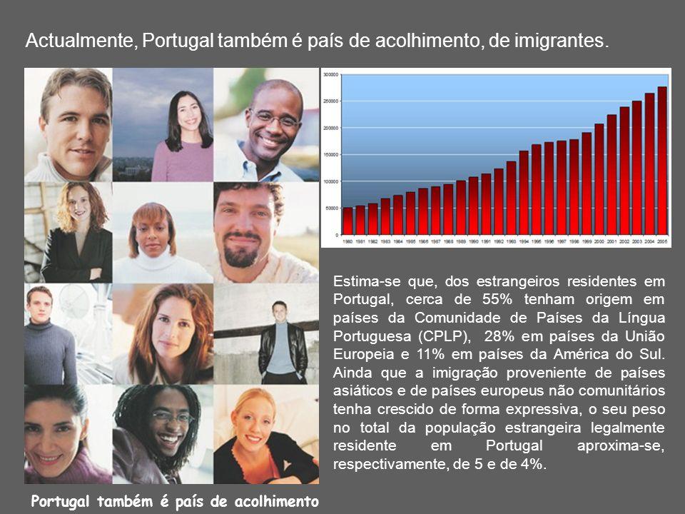 Actualmente, Portugal também é país de acolhimento, de imigrantes. Estima-se que, dos estrangeiros residentes em Portugal, cerca de 55% tenham origem