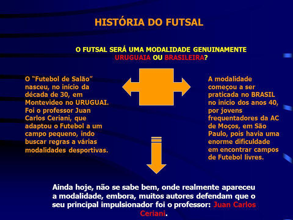 HISTÓRIA DO FUTSAL O FUTSAL SERÁ UMA MODALIDADE GENUINAMENTE URUGUAIA OU BRASILEIRA? O Futebol de Salão nasceu, no início da década de 30, em Montevid
