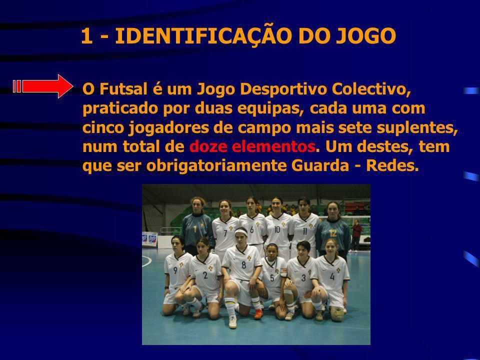 1 - IDENTIFICAÇÃO DO JOGO O Futsal é um Jogo Desportivo Colectivo, praticado por duas equipas, cada uma com cinco jogadores de campo mais sete suplent