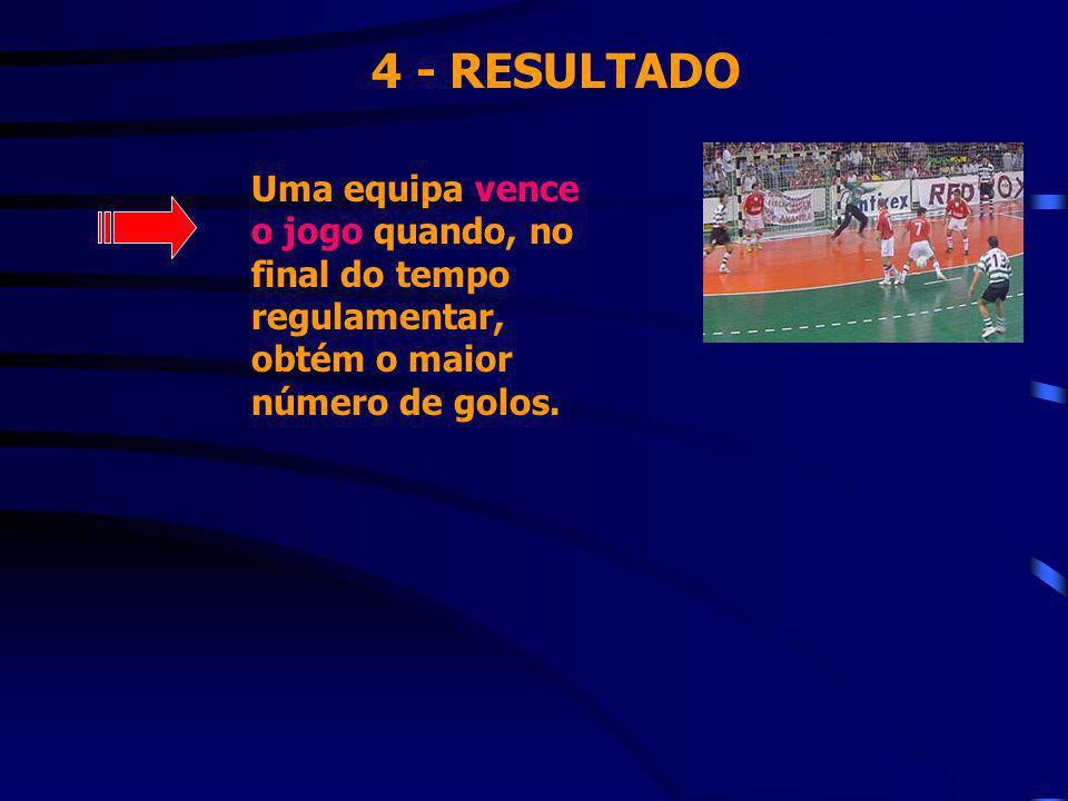 4 - RESULTADO Uma equipa vence o jogo quando, no final do tempo regulamentar, obtém o maior número de golos.