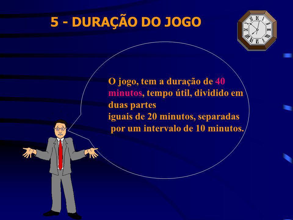 5 - DURAÇÃO DO JOGO O jogo, tem a duração de 40 minutos, tempo útil, dividido em duas partes iguais de 20 minutos, separadas por um intervalo de 10 mi