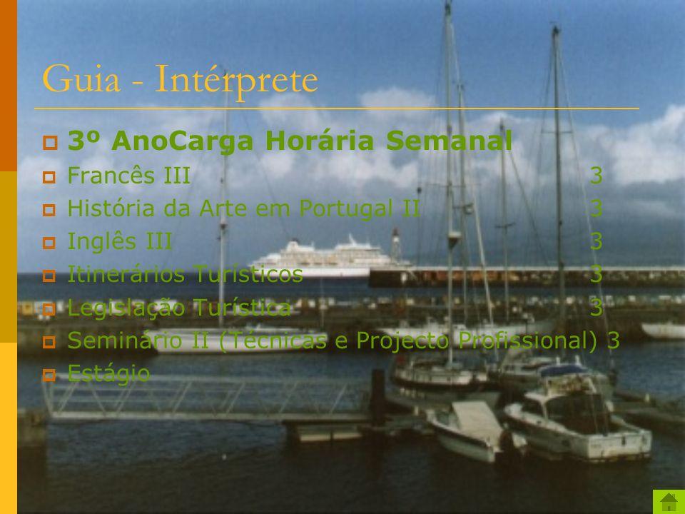 Guia - Intérprete 2º AnoCarga Horária Semanal Animação Turística3 Etnologia2 Francês II3 Geografia Turística de Portugal3 História da Arte em Portugal