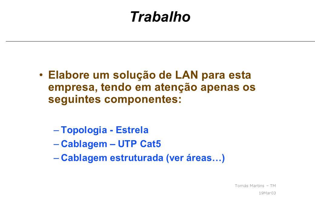 Trabalho Elabore um solução de LAN para esta empresa, tendo em atenção apenas os seguintes componentes: –Topologia - Estrela –Cablagem – UTP Cat5 –Cab