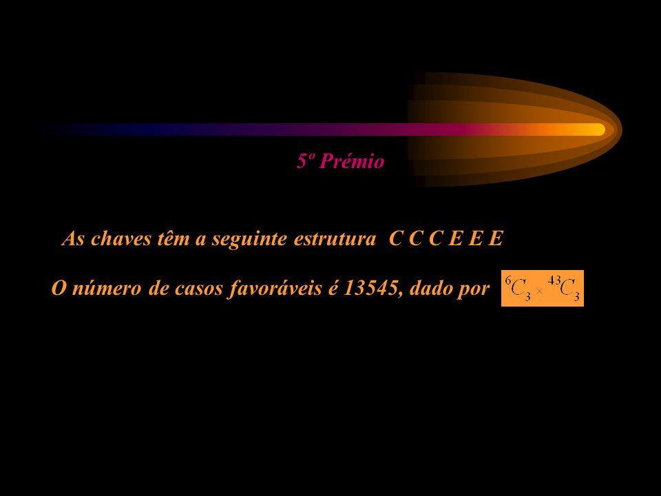5º Prémio As chaves têm a seguinte estrutura C C C E E E O número de casos favoráveis é 13545, dado por