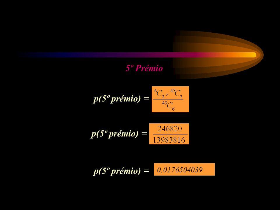 5º Prémio p(5º prémio) = 0,0176504039