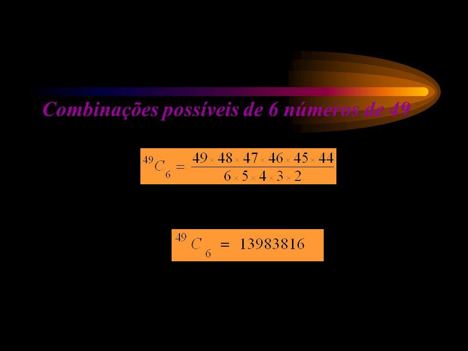Combinações possíveis de 6 números de 49