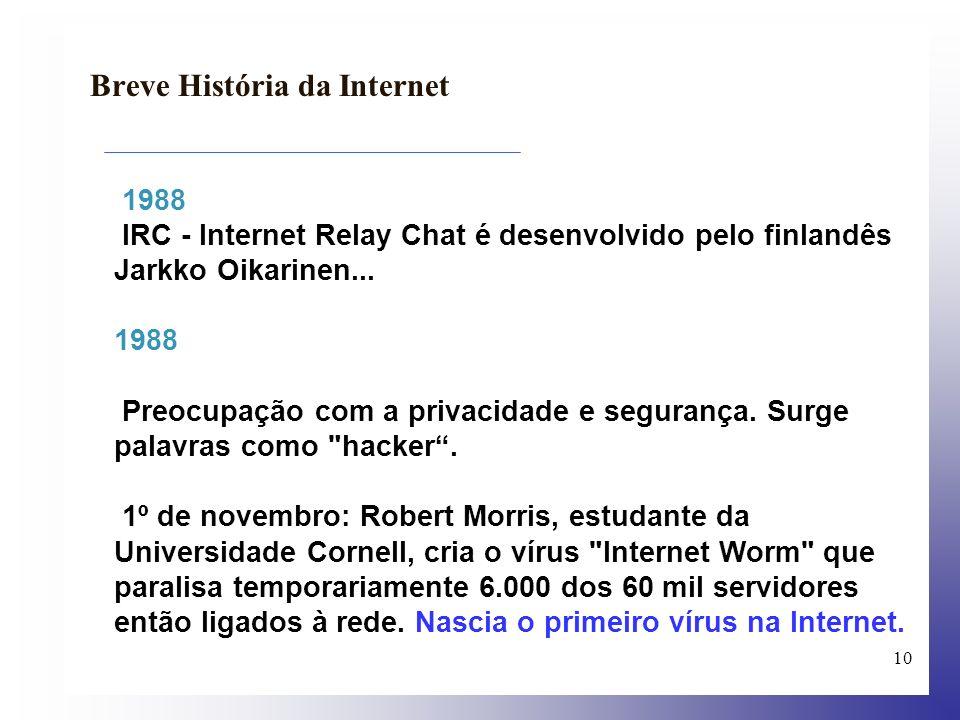 11 Breve História da Internet 1989 O número de servidores na Internet supera os 150 mil.