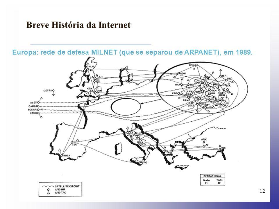 13 Breve História da Internet 1992 a Internet une 17 mil redes em 33 países; mais de um milhão de servidores estão ligados à Internet; o número de requisições por arquivos via FTP chega a 50 mil por mês; a expressão Surfar na Internet é criada por Jean Armour Polly...