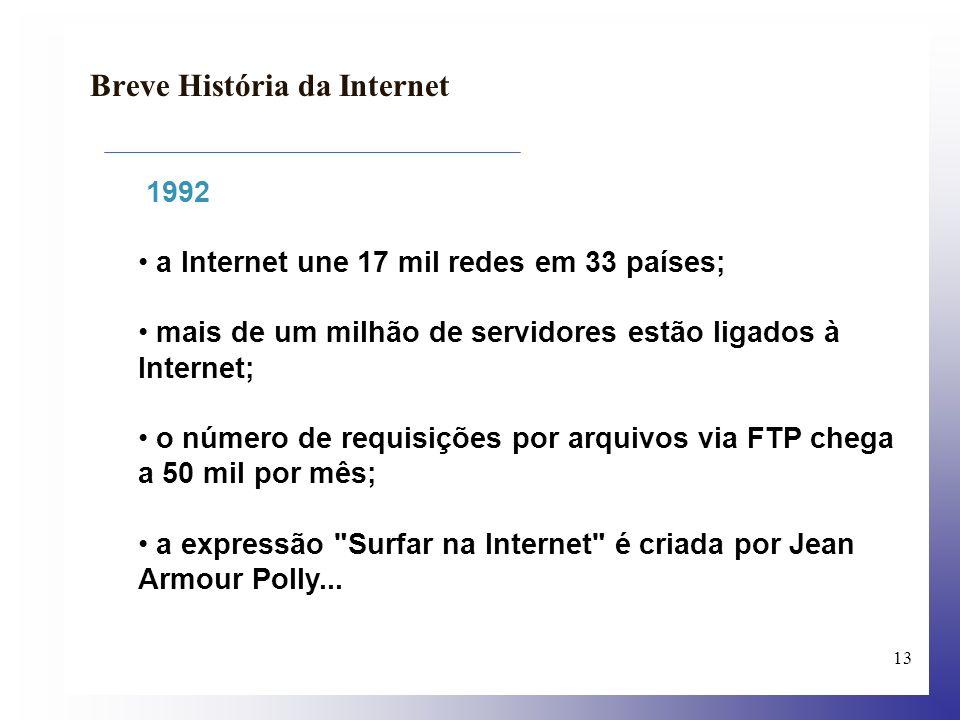 14 Breve História da Internet 1994 A Arpanet/Internet celebra seu 25º aniversário, com mais de 3 milhões de servidores ligados.