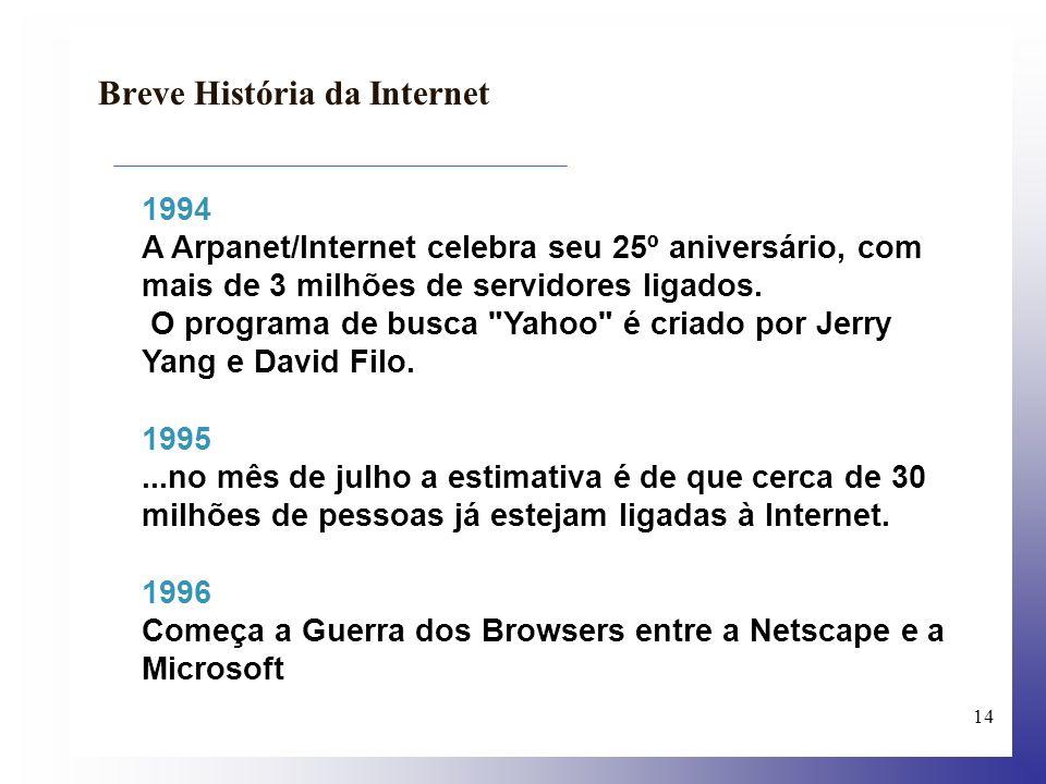 15 Breve História da Internet 2000 Segundo Vinton Cerf, (...) existem mais de 180 milhões de computadores ou 700 milhões de utilizadores, ligados à Web.