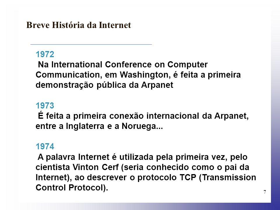 8 Breve História da Internet 1980 A Arpanet espalha-se rapidamente pelos EUA, conectando mais de 400 hosts em universidades, no governo, e em organismos militares; mais de dez mil pessoas tem acesso à Rede...