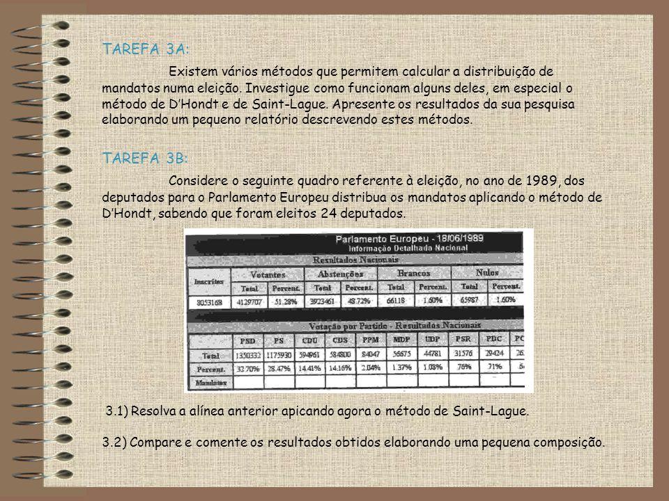 TAREFA 3A: Existem vários métodos que permitem calcular a distribuição de mandatos numa eleição. Investigue como funcionam alguns deles, em especial o