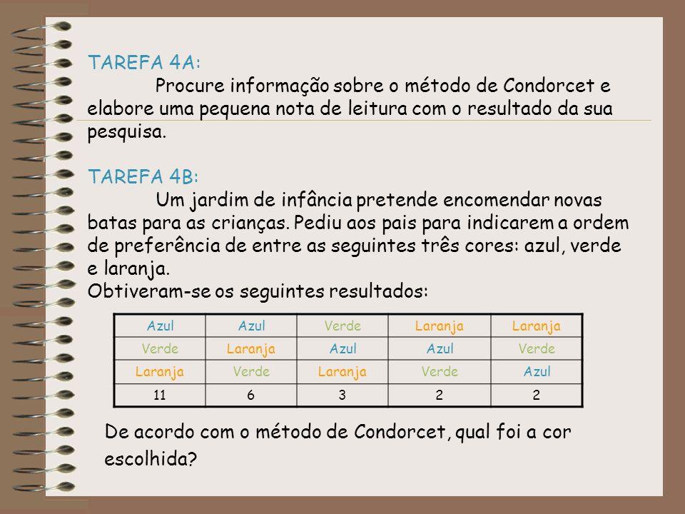 TAREFA 4A: Procure informação sobre o método de Condorcet e elabore uma pequena nota de leitura com o resultado da sua pesquisa. TAREFA 4B: Um jardim