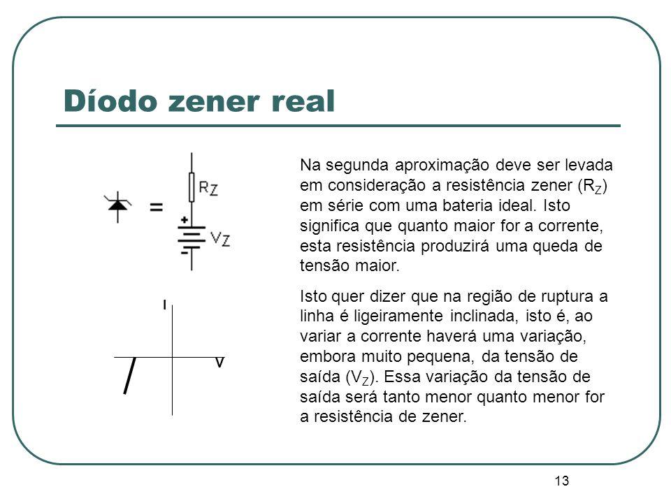 13 Díodo zener real Na segunda aproximação deve ser levada em consideração a resistência zener (R Z ) em série com uma bateria ideal. Isto significa q