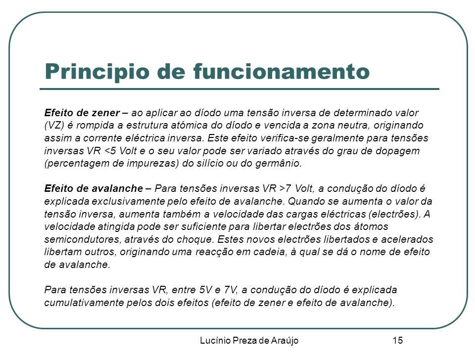 Lucínio Preza de Araújo 15 Principio de funcionamento Efeito de zener – ao aplicar ao díodo uma tensão inversa de determinado valor (VZ) é rompida a e
