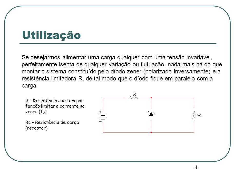 5 Polarização O díodo zener quando polarizado inversamente (ânodo a um potencial negativo em relação ao cátodo) permite manter uma tensão constante aos seus terminais (U Z ) sendo por isso muito utilizado na estabilização/regulação da tensão nos circuitos.