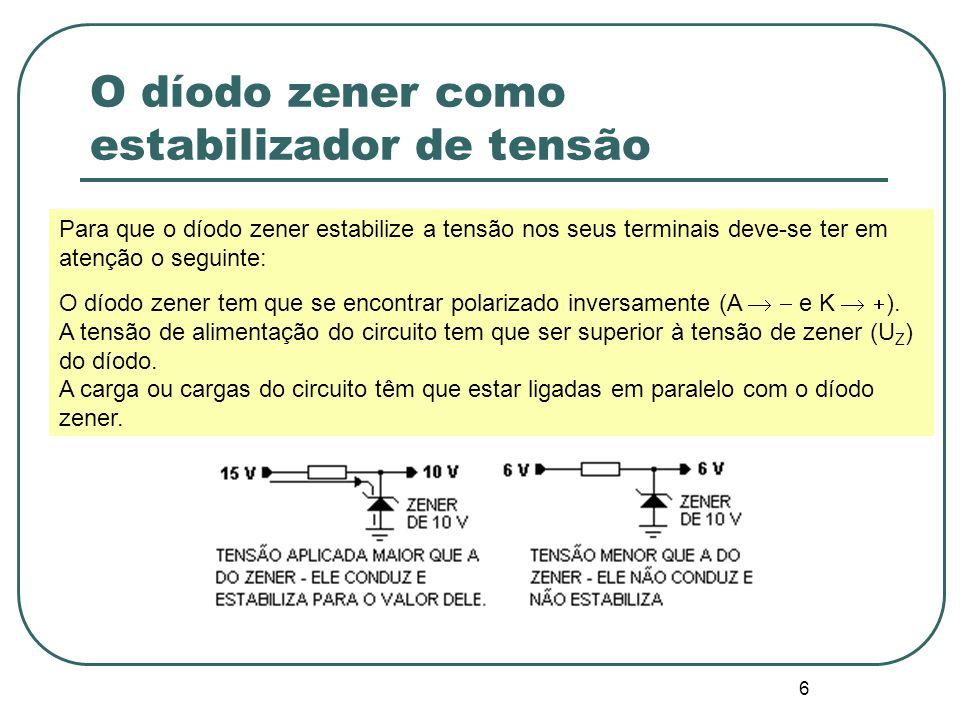 7 O díodo zener como estabilizador de tensão A corrente que circula pela resistência limitadora é a mesma corrente que circula pelo díodo zener e é dada pela expressão: I = (V E – V Z ) / R I = (15 – 10) / 500 I = 10 mA Para que ocorra o efeito estabilizador de tensão é necessário que o díodo zener trabalhe dentro da zona de ruptura, respeitando-se as especificações da corrente máxima.