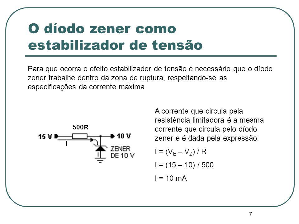 8 Curva característica Os díodos zener são definidos pela sua tensão de zener (UZ) mas para que possa existir regulação/estabilização de tensão aos seus terminais a corrente que circula pelo díodo zener (IZ) deve manter-se entre os valores de corrente zener definidos como máximo e mínimo, pois se é menor que o valor mínimo, não permite a regulação da tensão e, se é maior, pode romper a junção PN por excesso de corrente.
