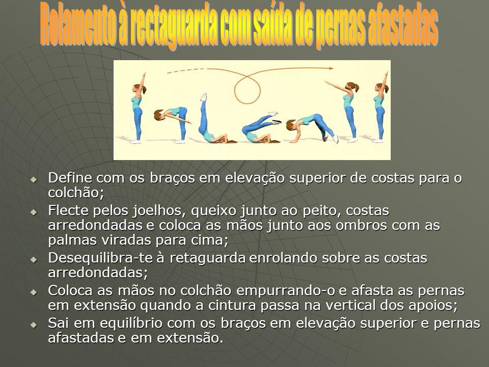 Define com os braços em elevação superior de costas para o colchão; Define com os braços em elevação superior de costas para o colchão; Flecte pelos j