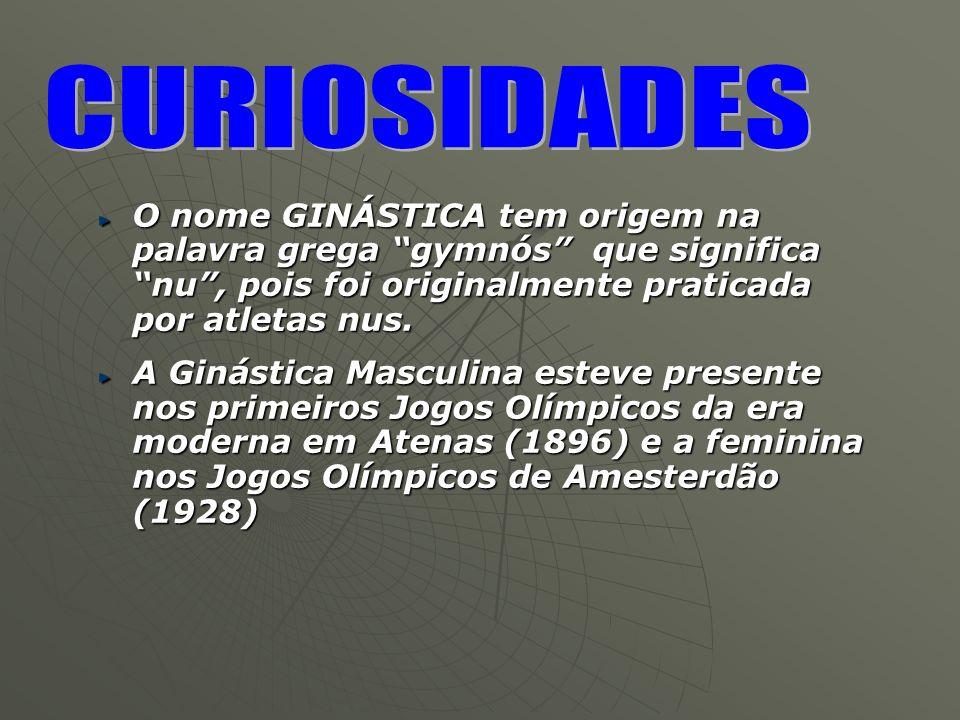 O nome GINÁSTICA tem origem na palavra grega gymnós que significa nu, pois foi originalmente praticada por atletas nus. A Ginástica Masculina esteve p