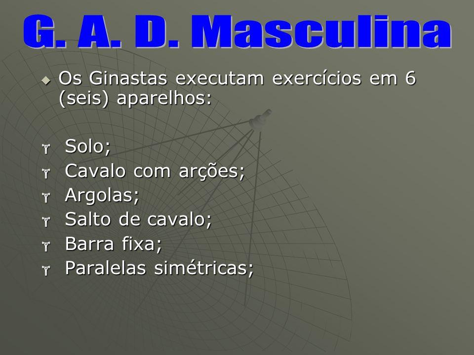 Os Ginastas executam exercícios em 6 (seis) aparelhos: Os Ginastas executam exercícios em 6 (seis) aparelhos: Solo; Solo; Cavalo com arções; Cavalo co