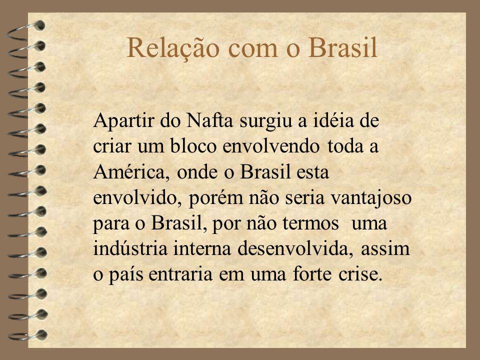 Relação com o Brasil Apartir do Nafta surgiu a idéia de criar um bloco envolvendo toda a América, onde o Brasil esta envolvido, porém não seria vantajoso para o Brasil, por não termos uma indústria interna desenvolvida, assim o país entraria em uma forte crise.