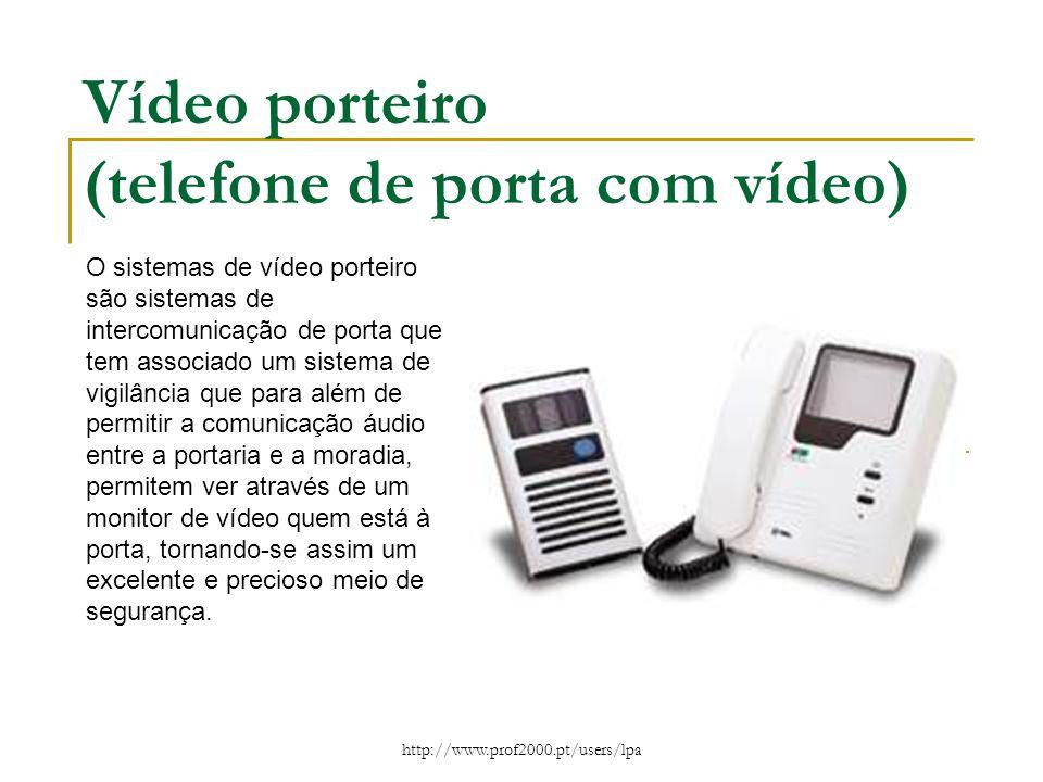 http://www.prof2000.pt/users/lpa Vídeo porteiro (telefone de porta com vídeo) O sistemas de vídeo porteiro são sistemas de intercomunicação de porta q