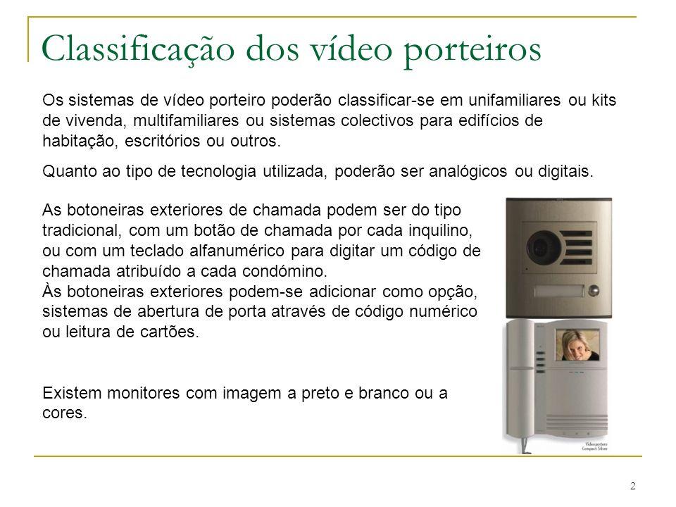 2 Classificação dos vídeo porteiros As botoneiras exteriores de chamada podem ser do tipo tradicional, com um botão de chamada por cada inquilino, ou