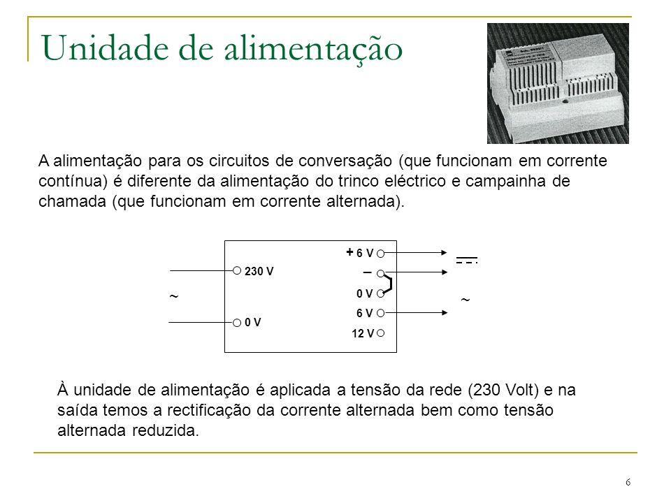 6 Unidade de alimentação A alimentação para os circuitos de conversação (que funcionam em corrente contínua) é diferente da alimentação do trinco eléctrico e campainha de chamada (que funcionam em corrente alternada).