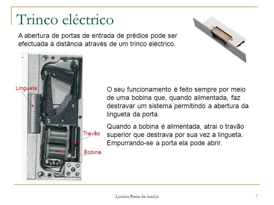 Lucínio Preza de Araújo 7 Trinco eléctrico A abertura de portas de entrada de prédios pode ser efectuada à distância através de um trinco eléctrico. O