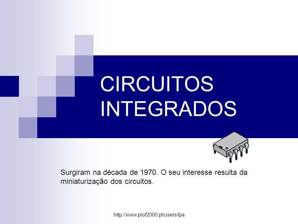 http://www.prof2000.pt/users/lpa CIRCUITOS INTEGRADOS Surgiram na década de 1970. O seu interesse resulta da miniaturização dos circuitos.