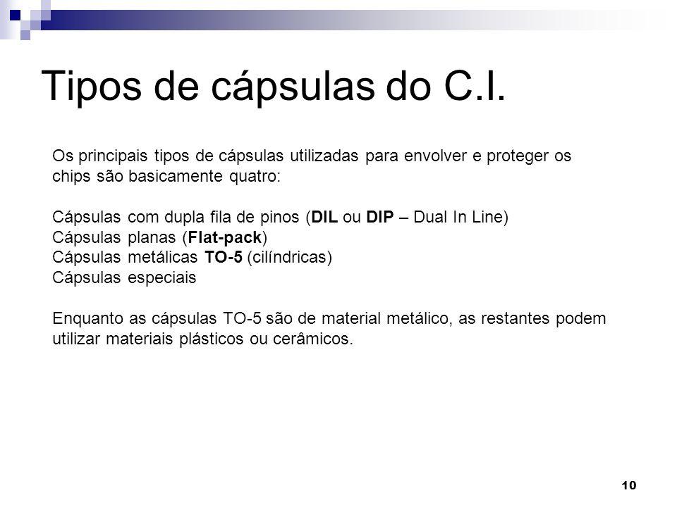 10 Tipos de cápsulas do C.I. Os principais tipos de cápsulas utilizadas para envolver e proteger os chips são basicamente quatro: Cápsulas com dupla f