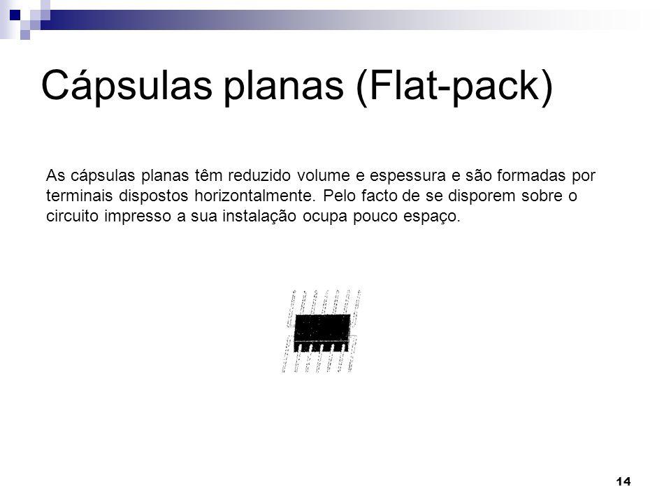 14 Cápsulas planas (Flat-pack) As cápsulas planas têm reduzido volume e espessura e são formadas por terminais dispostos horizontalmente. Pelo facto d