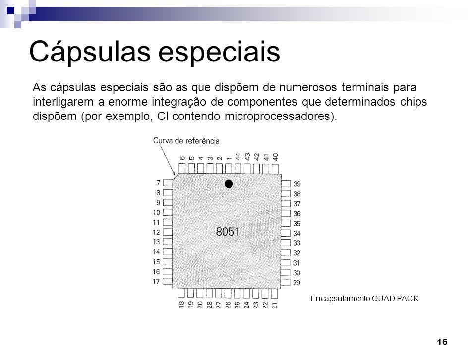 16 Cápsulas especiais As cápsulas especiais são as que dispõem de numerosos terminais para interligarem a enorme integração de componentes que determi