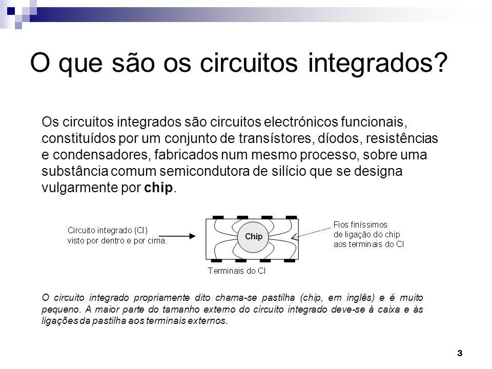 3 O que são os circuitos integrados? Os circuitos integrados são circuitos electrónicos funcionais, constituídos por um conjunto de transístores, díod
