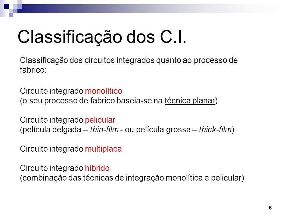 6 Classificação dos C.I. Classificação dos circuitos integrados quanto ao processo de fabrico: Circuito integrado monolítico (o seu processo de fabric