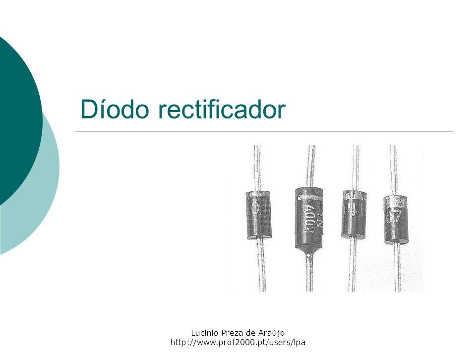 2 Constituição Um díodo rectificador é constituído por uma junção PN de material semicondutor (silício ou germânio) e por dois terminais, o Ânodo (A) e o Cátodo (K).