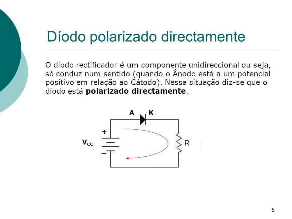 5 Díodo polarizado directamente O díodo rectificador é um componente unidireccional ou seja, só conduz num sentido (quando o Ânodo está a um potencial